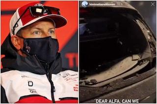 """La grandine distrugge l'auto di Raikkonen: """"Alfa Romeo possiamo fare un pit-stop?"""", """"Sei coperto!"""""""