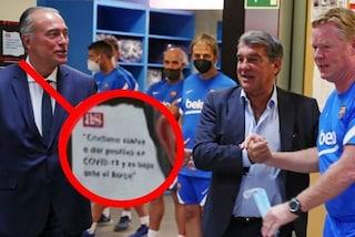 """""""Cristiano Ronaldo positivo al Covid"""": il cartello nello spogliatoio del Barcellona"""