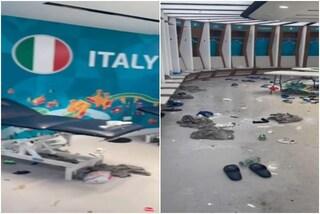 """Le foto dello spogliatoio dell'Italia dopo la festa a Wembley: """"Un campo di battaglia"""""""
