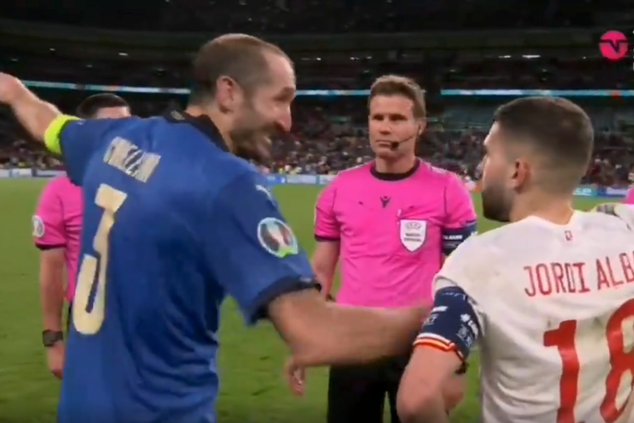 Il momento in cui l'Italia ha vinto, Chiellini a Jordi Alba prima dei  rigori: Bugiardo!