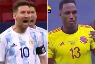 """Il tremendo sfotto' di Messi a Yerry Mina: """"Adesso non balli più?"""""""