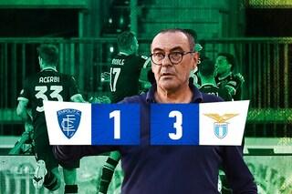 Lazio buona la prima di Sarri, 3-1 all'Empoli: gol di Milinkovic, Lazzari e Immobile