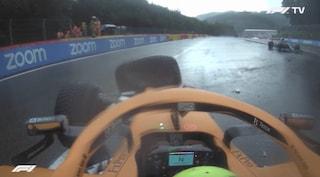Brutto incidente per Norris nelle qualifiche a Spa: doppio testacoda e botto contro le barriere