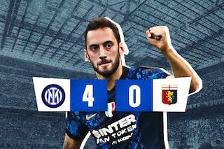 Inter bella e (ancora) feroce, Genoa dominato: 4-0, show di Calhanoglu e Dzeko
