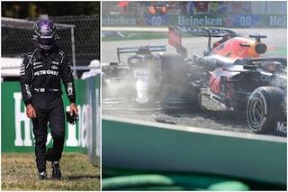 """Hamilton accusa Verstappen: """"Sapeva che ci saremmo scontrati, ancora mi fa male il collo"""""""