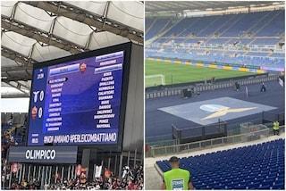 """Mourinho diventa Muorihno, il logo della Lazio sotto la Curva Sud: """"Provocazione verso la Roma"""""""