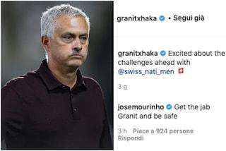 """Sorpresa Mourinho, scrive a Xhaka e lo avverte: """"Fai il vaccino e stai al sicuro"""""""