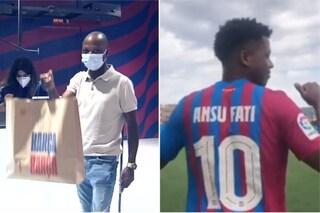 L'orgoglio di un padre: compra 8 maglie del Barcellona e si emoziona, il figlio è Ansu Fati