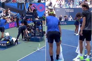 Scene inedite agli US Open: il primo set tra Zverev e Harris finisce in una pozza d'acqua