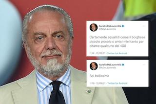 """Strani messaggi di De Laurentiis su Twitter, a ruota libera dopo Napoli-Juve: """"Sei bellissima"""""""