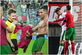 La soggezione dell'arbitro verso Cristiano Ronaldo: lo ammonisce e si scusa, non lo espelle per lo schiaffo