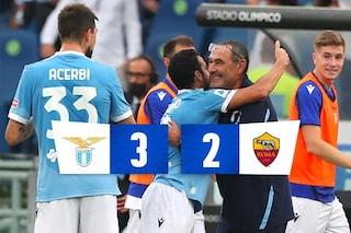 Gol e tensione, Lazio-Roma è uno spettacolo: Sarri vince il primo derby 3-2, Mourinho a testa alta