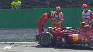 Ferrari horror nelle prove libere 2 del GP Monza di F1: Sainz ancora a muro, Sprint Race a rischio