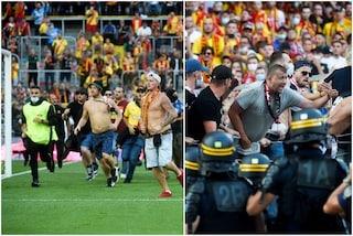 Scontri tra tifosi e invasione di campo: tensione nell'intervallo di Lens-Lille