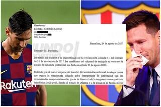 """""""Voglio rescindere il contratto"""": il documento con cui Messi chiese di andare via dal Barcellona"""