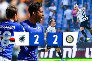 L'Inter perde la vetta: non basta un super Dimarco, la Sampdoria strappa il 2-2