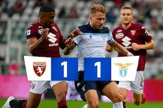 Immobile su rigore al 91' risponde al gol di Pjaca: Torino-Lazio 1-1