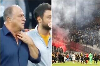 Marsiglia-Galatasaray sospesa per lancio di fumogeni, riprende grazie all'intervento di Terim