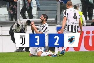 La Juventus è tornata, ma vince sempre col brivido: battuta 3-2 anche la Sampdoria