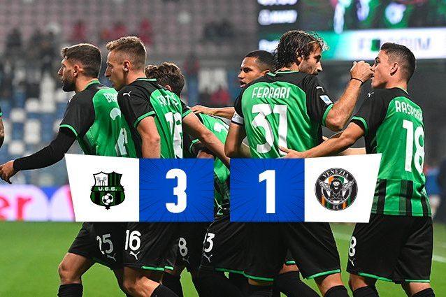 Sassuolo-Venezia 3-1, reazione neroverde vincente nel segno di Berardi e Frattesi