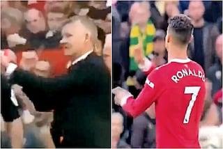 Cristiano Ronaldo umilia Solskjaer in campo, le telecamere riprendono la scena: è la fine
