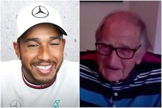 Lewis Hamilton incontra il suo tifoso più anziano: Len di 105 anni