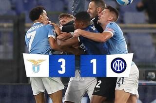 La Lazio fa festa e batte 3-1 l'Inter, all'Olimpico succede di tutto: due rigori e una rissa furiosa