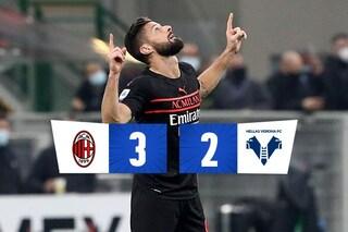 Vittoria d'orgoglio e di cuore: dallo 0-2 al 3-2, il Milan ribalta a San Siro un ottimo Verona