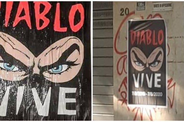 I manifesti affissi a un anno dall'omicidio di Fabrizio Diabolik Piscitelli