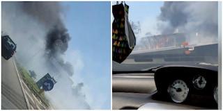 Incendio su via Pontina: paura per le fiamme in una pompa di benzina