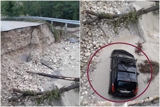 Crolla un ponte a Picinisco, un'automobile finisce nel fiume (VIDEO)