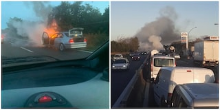 Auto in fiamme sulla Pontina, traffico in tilt: strada bloccata e automobili in coda per chilometri