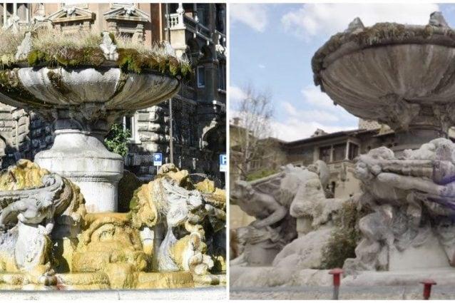 La fontana delle Rane prima e durante il restauro