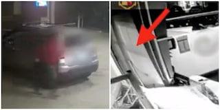 Fa la 'spaccata' a un distributore di benzina con un'auto rubata: le immagini