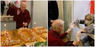 Nonno Gerardo compie 105 anni con una maxi torta e inaugura la stanza degli abbracci