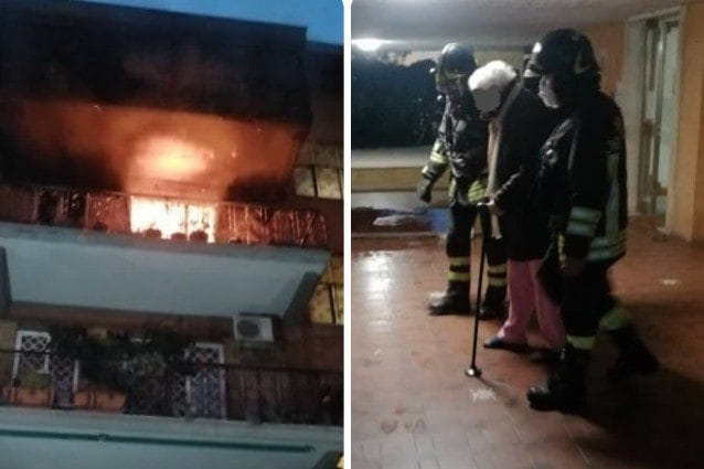 L'incendio in zona Portuense (Foto dei vigili del fuoco)