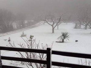 Neve sui Campi d'Annibale a Rocca di Papa [Foto da Facebook Meteo Castelli Romani]