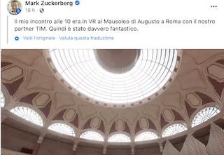 Il fondatore di Facebook, Mark Zuckerberg, visita il Mausoleo di Augusto di Roma in realtà virtuale
