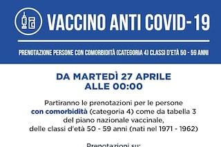Dalle 24 di lunedì 26 aprile via a prenotazioni persone con esenzione patologia fascia d'età 50-59