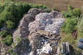 Scoperta montagna di rifiuti speciali alta 3 metri in zona La Storta: le immagini del drone