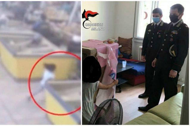 Il momento del ferimento della bimba e il regalo consegnatole dai carabinieri di Sesto San Giovanni, guidati dal maggiore Sica