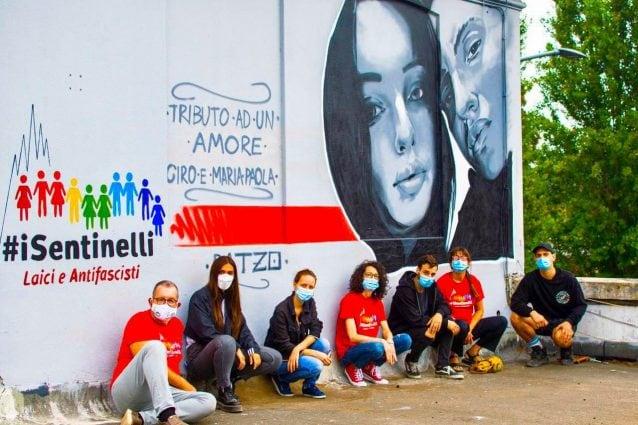 """Il murale di Ciro e Maria Paola realizzato da Ratzo insieme ai ragazzi del Tempio del Futuro Perduto e a """"I sentinelli di Milano"""""""