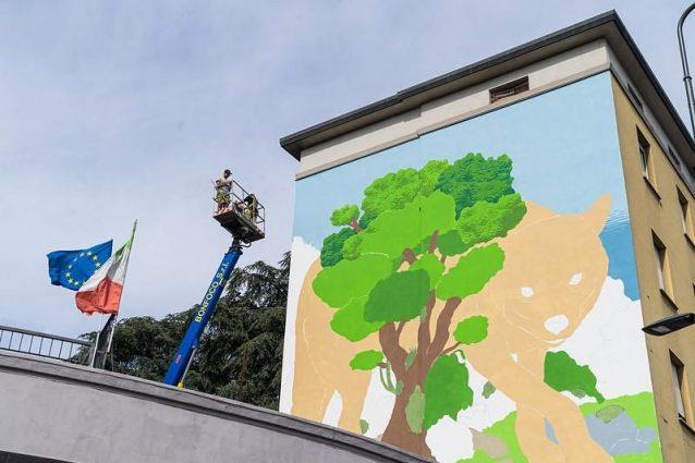 Il murale in via Palmanova