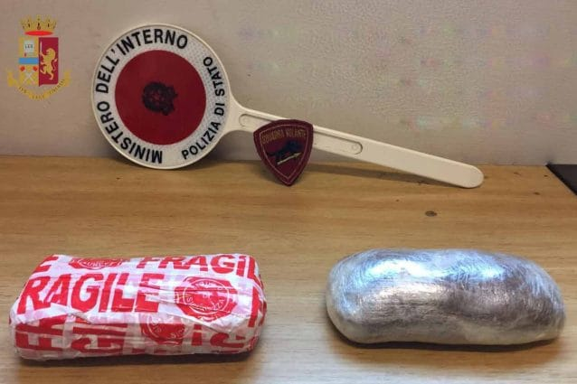 Il chilo di eroina sequestrato al presunto pusher arrestato (Fonte: polizia)