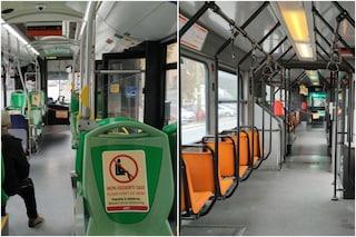 Primo giorno di lockdown a Milano, mezzi pubblici ridotti: metro e bus semivuoti, traffico in strada