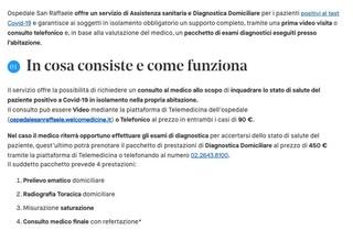 San Raffaele di Milano, visite a domicilio per pazienti positivi al Covid a 450 euro
