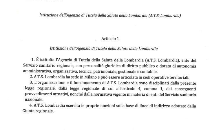 Il primo articolo del progetto di legge M5S per la riforma della sanità lombarda