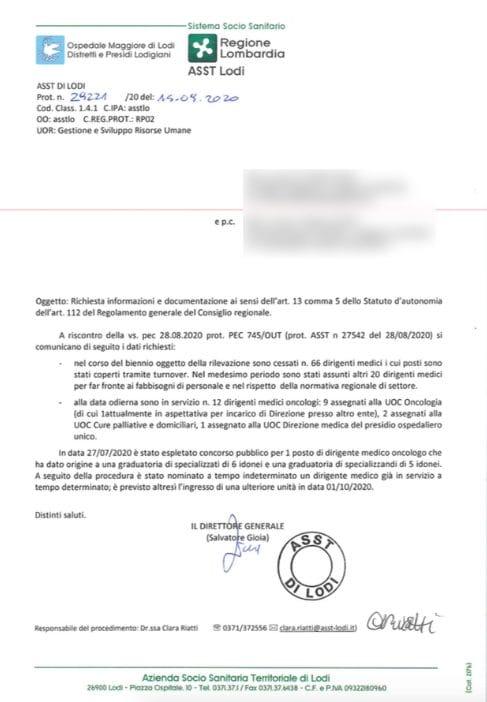 Il documento che certifica l'emorragia di medici (Foto: Fanpage.it)