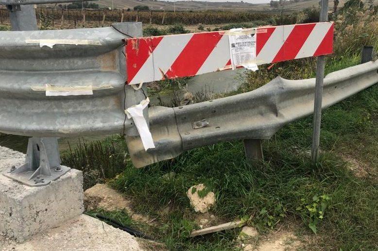 Il guardrail sul luogo dell'incidente