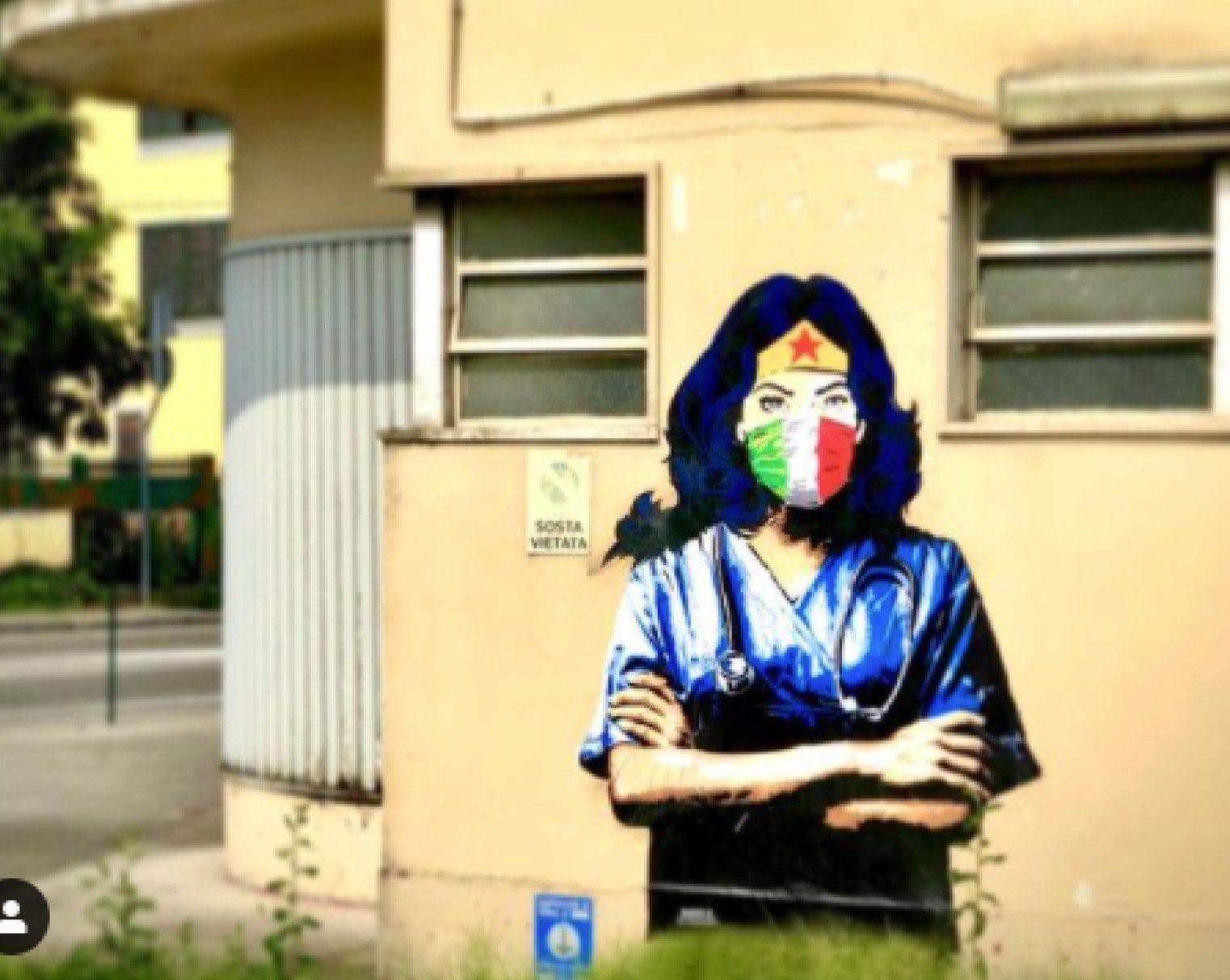 Il murales prima dell'atto di vandalismo (Fonte: Instagram)